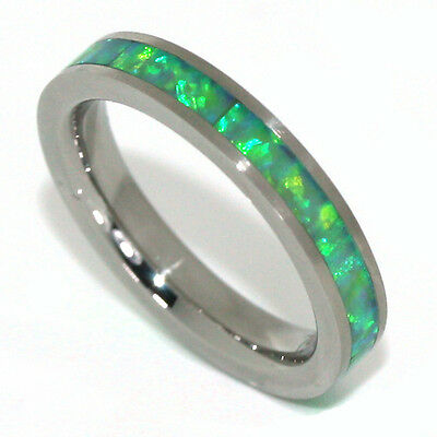 Stainless Steel Eternity Ring 3MM Green with Blue Fire Opal Stackable Band