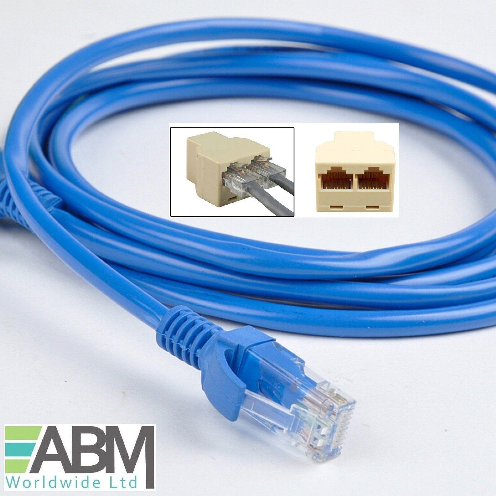 2 x 15m BLUE Ethernet RJ45 Cat5E PATCH Cable + 1 x 3 Ports Y Joiner - Splitter