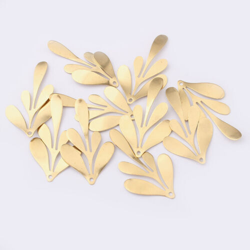10Pcs Raw Brass Leaf Branch Shaped Charms Pendants For Necklace Earring Making