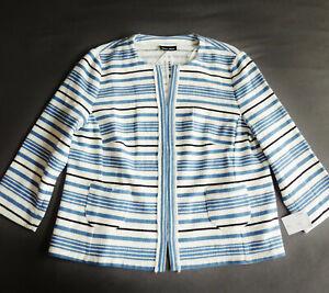 NEW-High-Quality-Gerry-Weber-Blazer-Jacket-Gr-46-White-Blue-Linen-Look