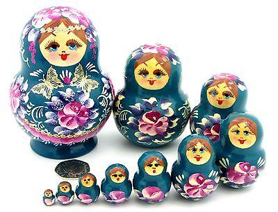 Pirografia nidificazione bambole Russe Babushka Matryoshka fatto a mano 10 Fiori Rosa