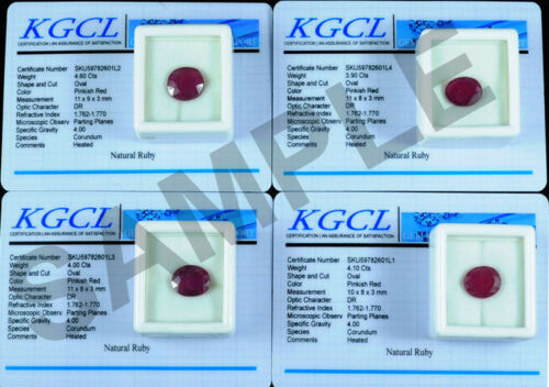 //// 4 PC Natural Mozambique Rojo Ruby Ovalado Facetado Gemas Con certifcate 15.00 CTS