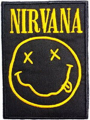 """NIRVANA Smiley Grunge Rock Embroidered Iron On Sew On Shirt Badge Patch  3.5"""""""