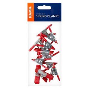 12 MINI SMALL METAL SPRING CLIP CLAMP GRIP TARP SET MODEL CRAFT MAKING DIY HOLD