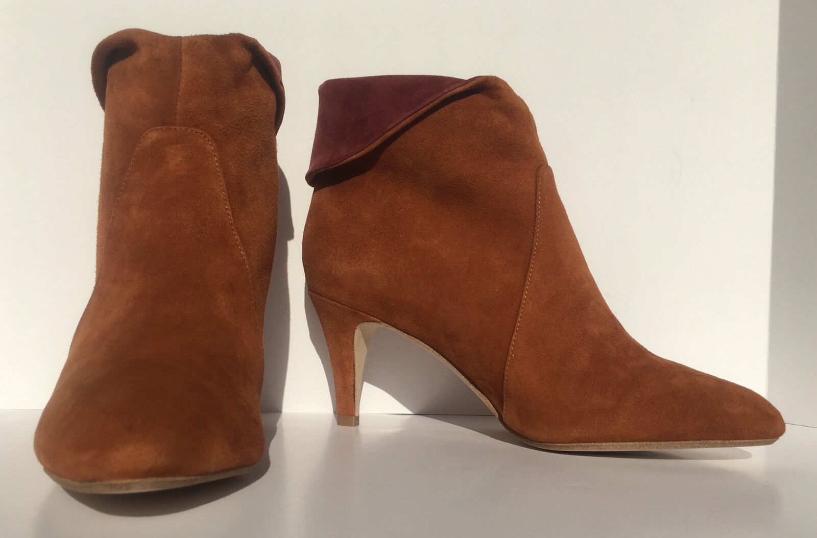 Jeffrey Campbell Tan ROT Suede Sonika Asymmetrical Cuff Bootie Boot Schuhe Größe 6
