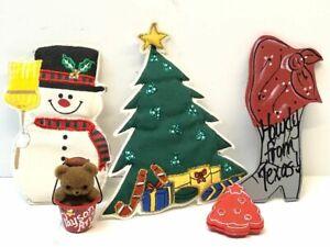 Lot-Of-5-Vintage-Christmas-Refrigerator-Snowman-Tree-Bear-Magnets