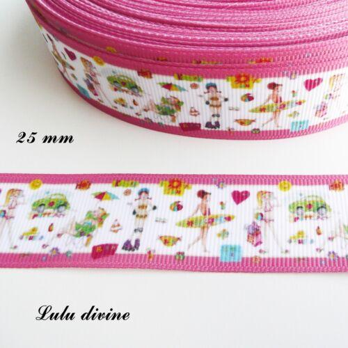 Ruban gros grain blanc liseré rose Vive les vacances Surf Rollers de 25 mm au m