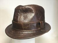 Jill Corbett Fedora Snatch hat cracked brown battered leather Handmade UK