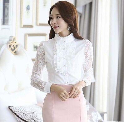 Women OL Elegant Ruffles Lace Chiffon Shirt Lace Sleeve Button Down Blouse S-XXL