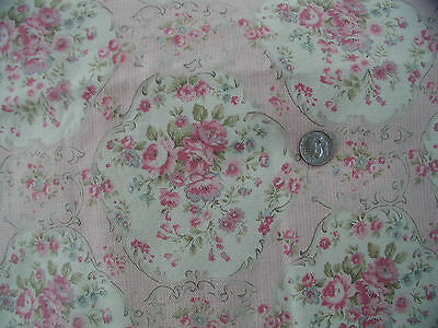 Yuwa Micro Stripe Pink and Cream Roses Cartouches Cotton/Linen Fabric