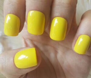 Details about Hand Painted Yellow False Nails. 20 Short Square Press,on  Nails. Glossy.