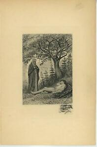 ANTIQUE-NUN-CONVENT-SHRINE-FOREST-TREES-ARTISTIC-NUDE-MAN-SLEEPING-ETCHING-PRINT