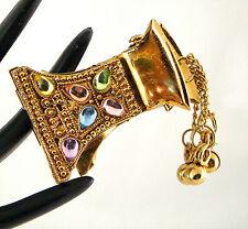 Gold Rainbow Crystal Ornate Bollywood Bridal Ethnic Hairclip Crocodile Clip Grip