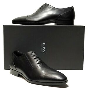 New-HUGO-BOSS-ITALY-Black-Leather-Captoe-Men-039-s-Pebbled-Oxford-Dress-Derby-Casual