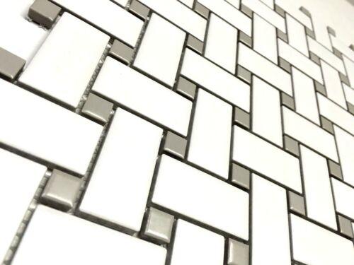 1 x 2 White Gray  Basketweave Porcelain Mosaic Floor Wall Backsplash Kitchen