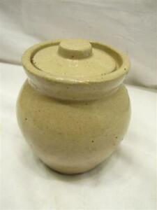Roycroft Stoneware Crock Condiment Jar w/Lid Jelly Jam Honey Pot Art Pottery