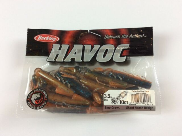 "Berkley Havoc 3 1/2"" Skeet Reece Slop Craw Perfection Blue Fleck - Fishing Bait"