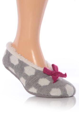 femmes Tricoté Polaire Doublé pinces chaussons chaussettes dans 4 couleurs Mesdames