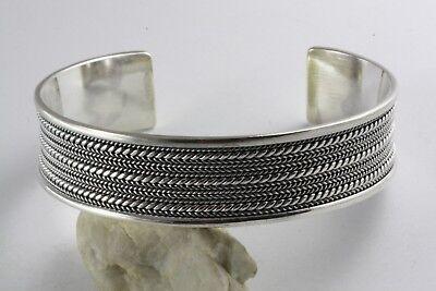 Design Silber Armreif Geflochten Biker Silberarmreifen 925 Silber / 446