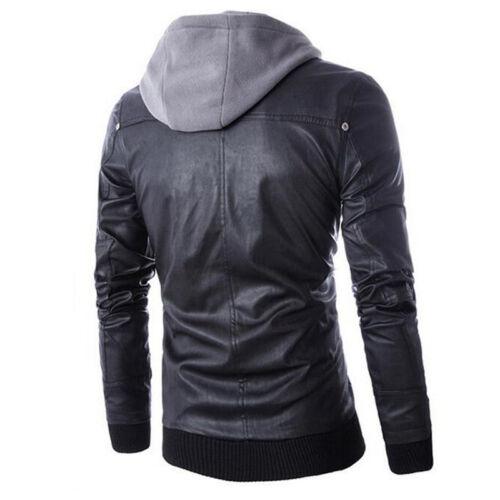 Fit Hooded Hoodie Leer Jacket Zip Motorfiets Slim Uitloper Biker Heren Coat Pu E5q08xx