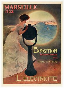 Affiche-Originale-Mario-Pezilla-Marseille-Exposition-Internationale-1908