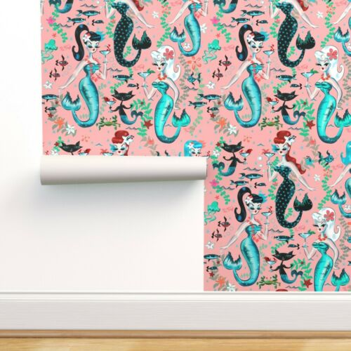 Removable Water-Activated Wallpaper Martini Mermaids Vintage Retro Mermaid