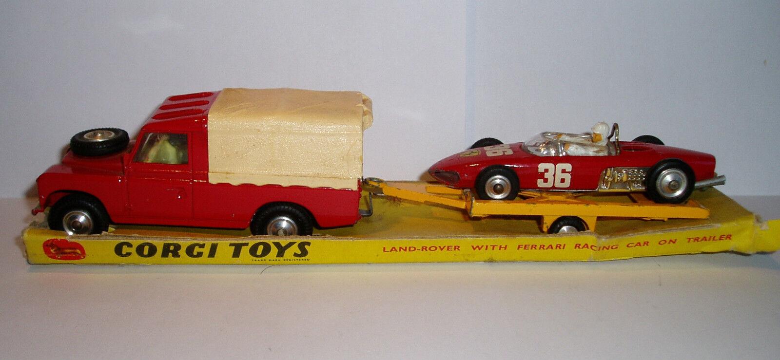 CORGI Set 17 années 1960 Land Rover & trailerouge Ferrari VG Condition en boîte d'origine