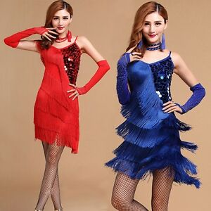 fb54b2f22 Adult Women's Tassels Latin Cha Cha Dance Performance Dress Rumba ...