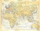 BIG SIZE COMMUNICATION MAP CARTE ATLAS 1950 AFRICA ASIA EUROPE AUSTRALIA OCEANIA