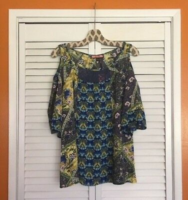 XL//1X//2X//3X New Anthropologie Aqua Blue  Green Coral White Floral Peasant Top