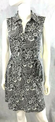 Tacera Shift Dress Sleeveless NEW Black /& White Stretch Casual Dress NWT S//M
