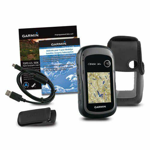 New Garmin ETrex 30X Handheld GPS Bundle 100K Topo Card, Case, BirdsEye, Clip