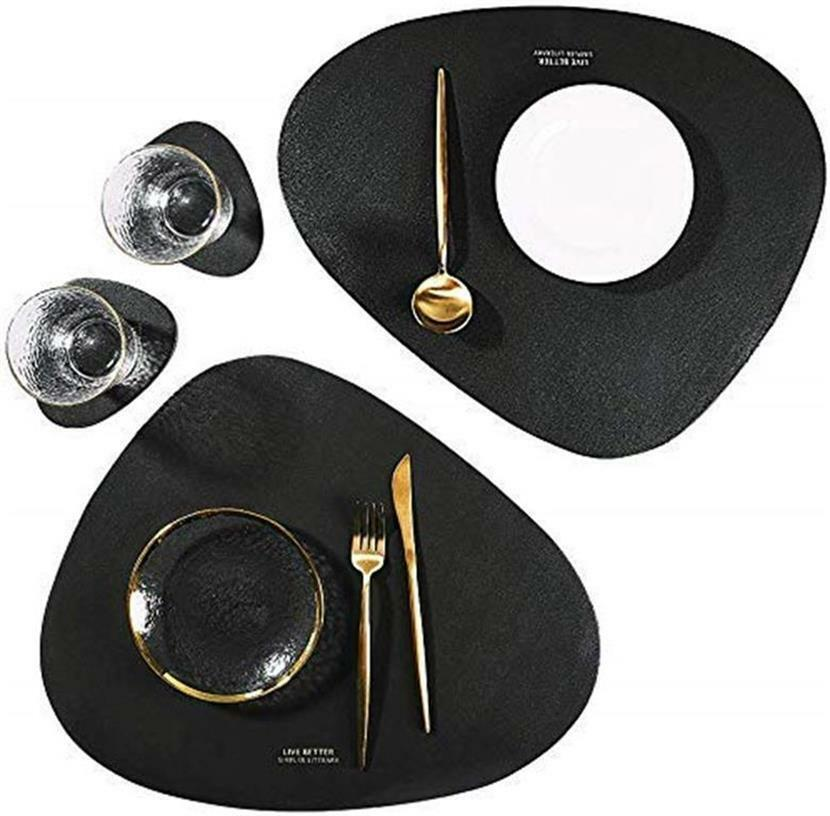 2 sets faux leather placemats and coasters