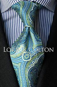 Lord-R-Colton-Studio-Tie-Greek-Blue-amp-Lime-Tapestry-Necktie-95-Retail-New