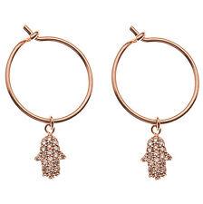 Orelia Rose Gold Hoop Earrings & Crystal Hamsa charm Cubic Zirconia & gift bag