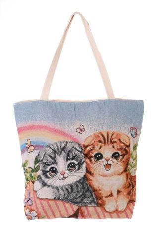 LB-215-2 Katzen Vintage Stoff niedlich groß Lolita Beutel Trage Tasche Shopper