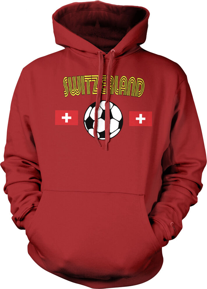 Switzerland Flag Crest National Soccer Football Pride 2-tone Hoodie Pullover