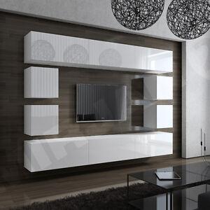 Wohnwand weiß schwarz hochglanz  Wohnwand Lofter 17! Hochglanz Weiß Schwarz Wohnzimmer-Set Möbel ...