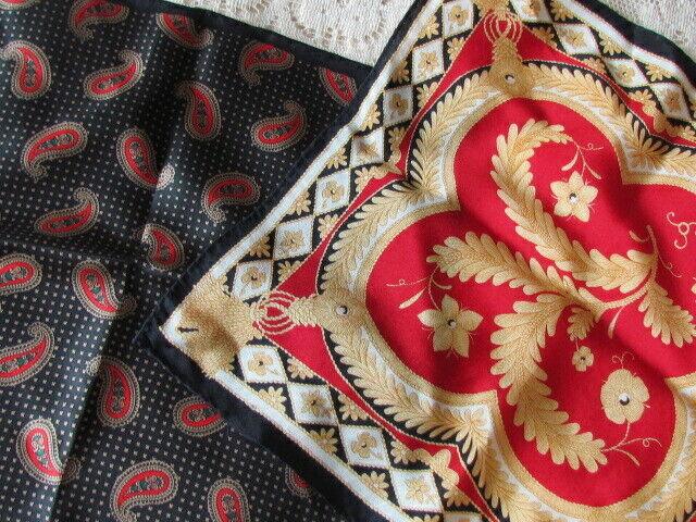 Liz Claiborne Silk Paisley Abstract Vintage Pocket Squares Lot Red Yellow Black