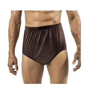37805168368 VINTAGE STYLE DEEP BROWN GRANNY BRIEFS PANTIES MEN   WOMEN SILKY ...