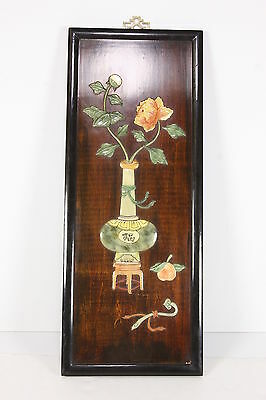 Vtg Hong Kong Wall Hanging Wood W/ Applied Marble Or Resin Oriental Vase Flower