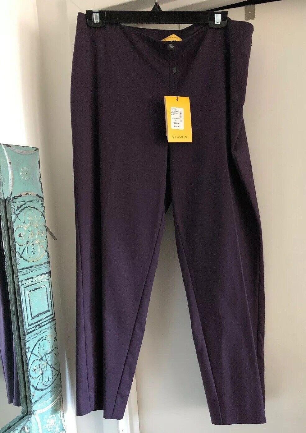St. John NEW Aubergine lila Audrey Capri Ankle Pants R8230B3 USA 12 NWT  395