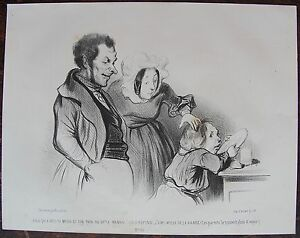 HONORE DAUMIER (1808-1879). L'aimable enfant. N°25 . Lithographie originale - France - HONORE DAUMIER (1808-1879). L'aimable enfant. N°25 . Lithographie originale - France