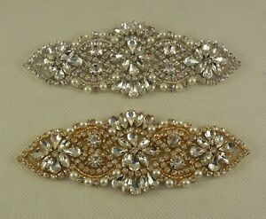 Bridal-wedding-silver-or-gold-rhinestones-applique-Sew-on-jewellery-beaded-motif