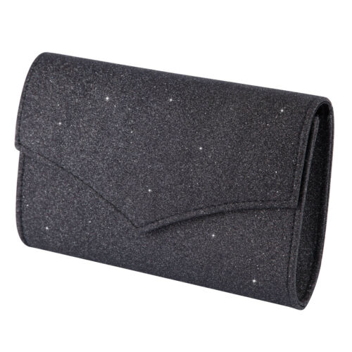 New Women/'s Ladies Elegant Glitter Evening Clutch Bag With Shoulder Strap