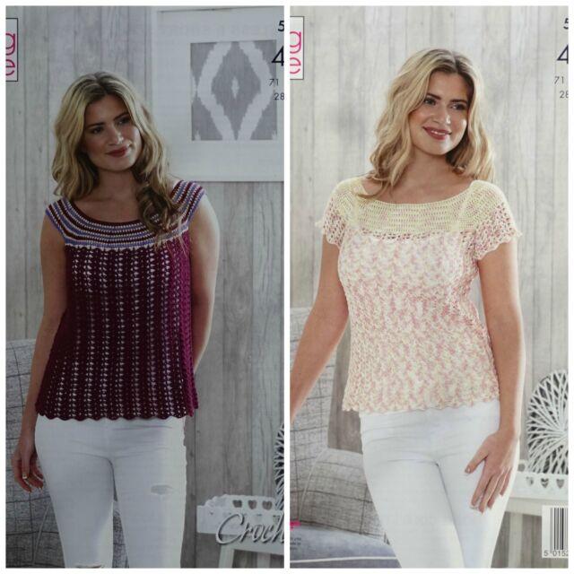 King Cole Ladies 4ply Crochet Pattern Womens Sleeveless Short