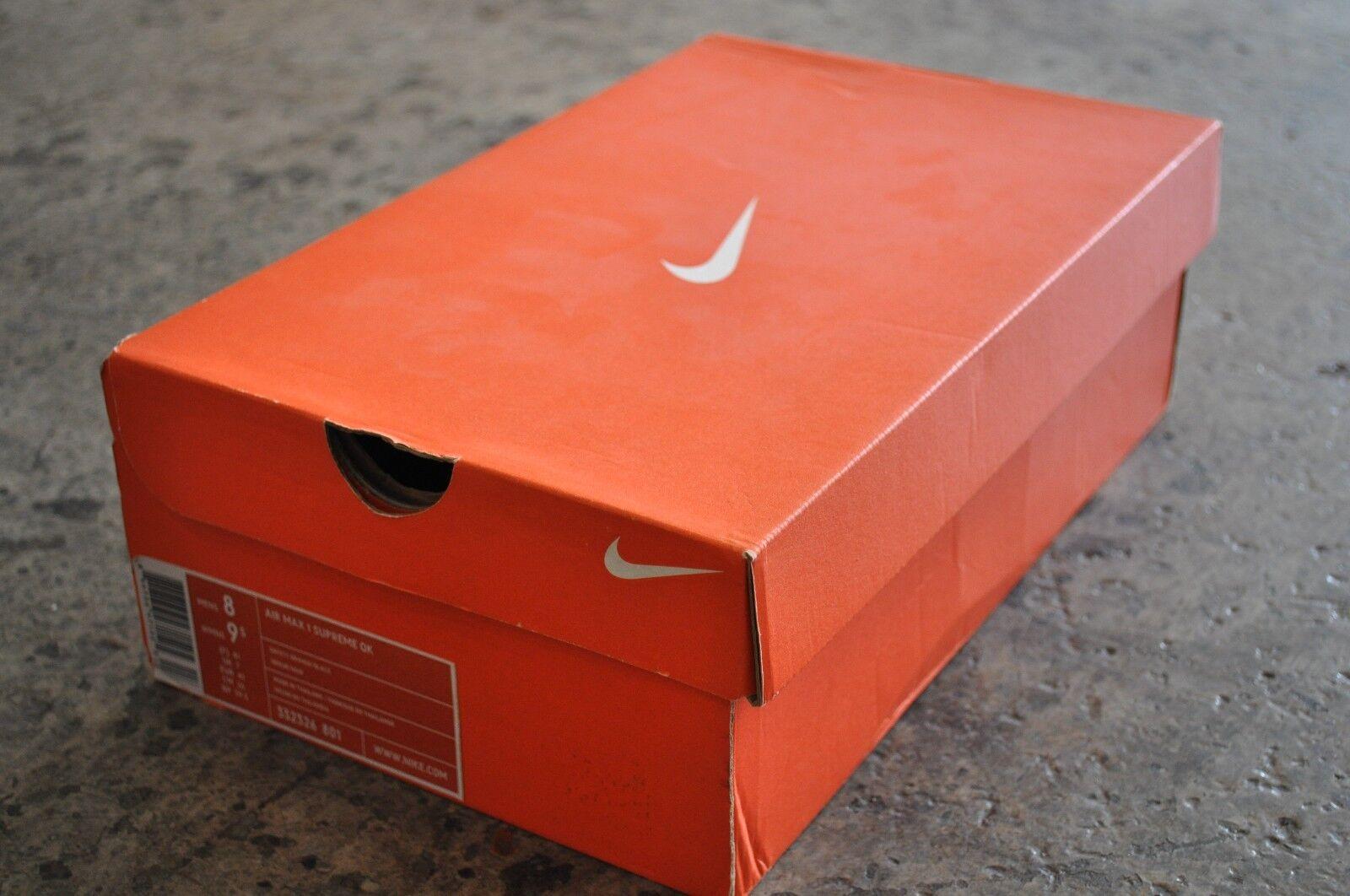 Nike Air Max 1 Supreme QK Safari 2008-Saftey Arancione Nero Nero Nero STRANA COPPIA 7 8 UK | Lussureggiante In Design  eb4e95