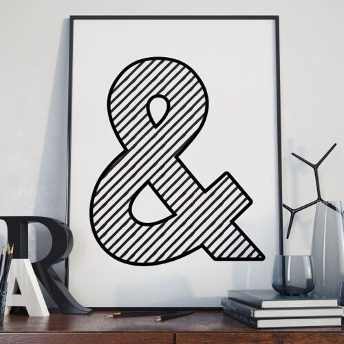 AND & Symbol Words Typographic Chevron Poster + Frame (Black or White) * 5 SIZES