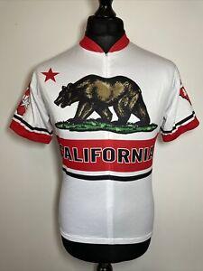 Kucharik Clothing California Republic Bear Flag White Cycling Jersey Shirt M