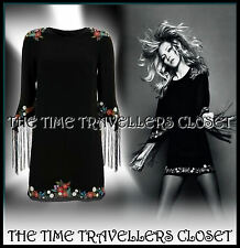 KATE MOSS TOPSHOP BLACK EMBROIDERED FLORAL DRESS FRINGED TASSLE SLEEVES 8 10 12